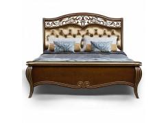 Кровать Патриция, цвет Орех с золотом, ткань Arena Gold, кожа белая, арт. 190